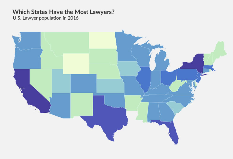 How many lawyers in the U S ? (Lawyer population by state