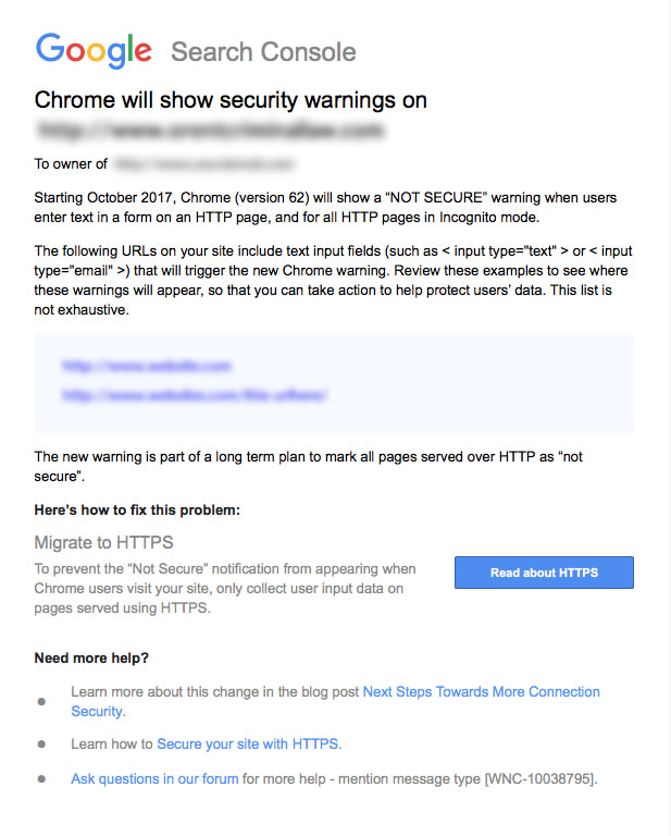 Google Search Console Warning Message