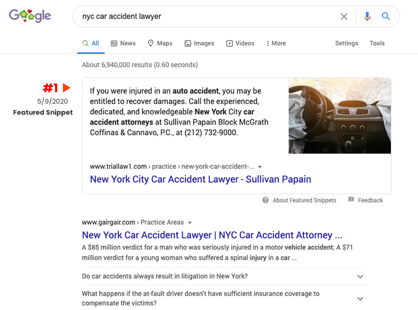 Google search for NYC car accident lawyer