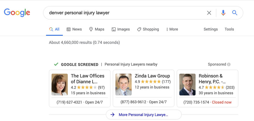 LSA Ads for Personal Injury Lawyers